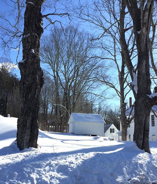 Langdon, NH. Hearse House behind Langdon Meetinghouse. January 31, 2019.