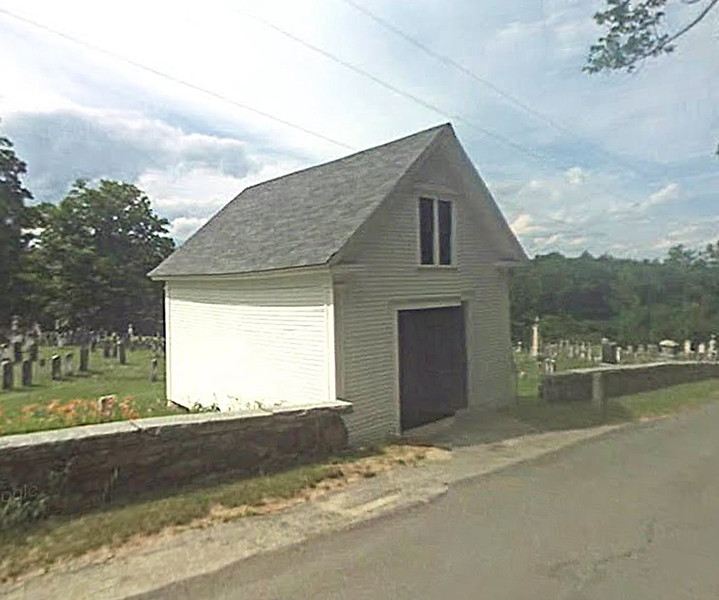 Hearse House in New Boston on Cemetery Road. Google streetview.