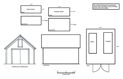 Plans and elevations and the dimensions of the two hearses.