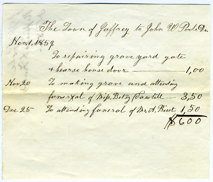 Town bill from John Poole for work on repairing the hearse house door in 1859. Jaffrey Historical Society.