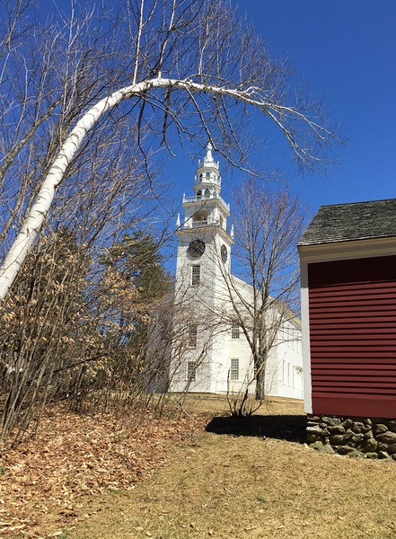 Rear of Little Redschoolhouse with Meetinghouse beyond, April 15, 2015.