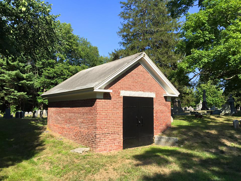 Old Town Cemetery, Rollinsford, NH. Structure now used as a receiving tomb but may have been a Hearse House.