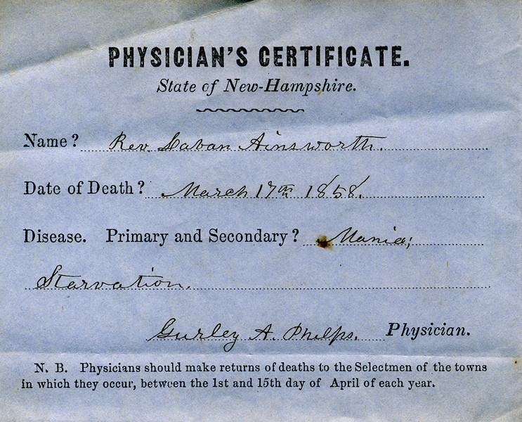 Laban Ainsworth's death certificate. JHS collections.