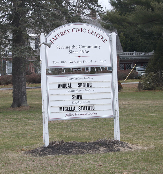 Sign for Jaffrey Civic Center on north side of Main Street. March 27, 2016.