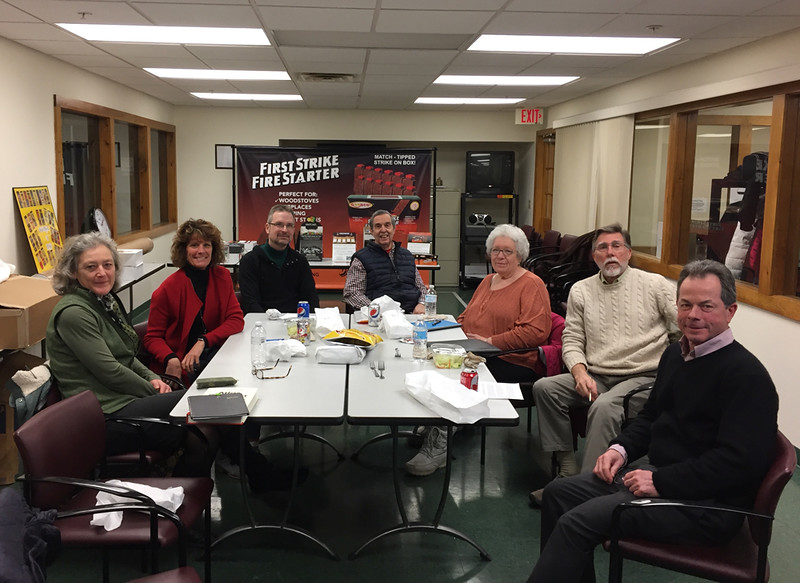 The Jaffrey Match Museum working group. February 15, 2017. Jo Anne Carr, Stephanie Niemala, Max Mitchell, Steve Weiner, Pat Weiner, Lee Bruder, Mark Bean. Taking photo: Rob Stephenson.