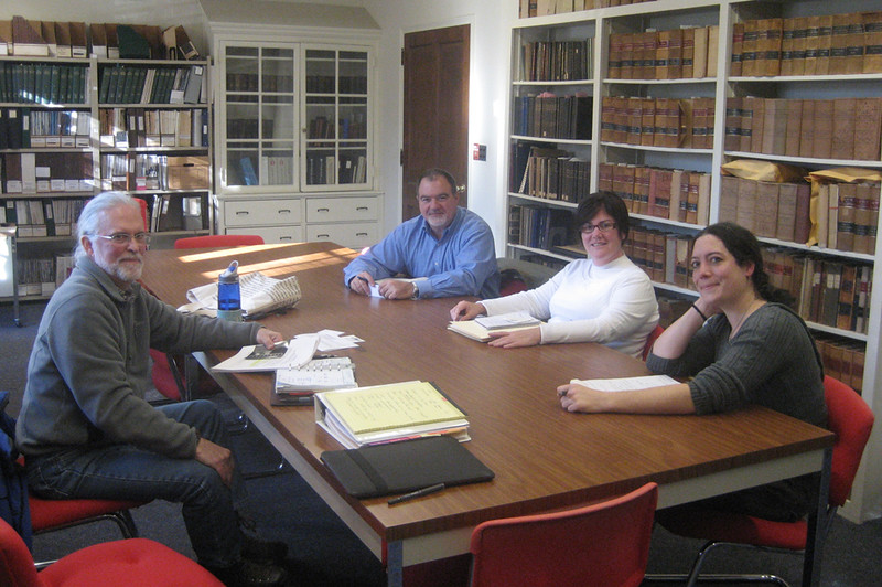 Paul Wainwright, Mike Petrovick, Nadine Peterson (NHDHR) and Mae Williams in the offices of the NH Division of Historical Resources, Concord. November 19, 2014.