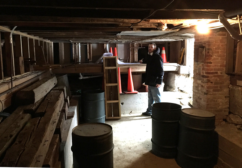Dan Artz of Catlin + Petrovick in the Meetinghouse cellar. Monday 30 March 2015.