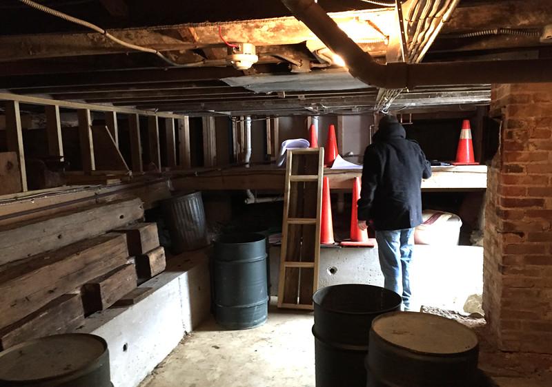 Dan Artz of Catlin + Petrovick in the Meetinghouse cellar. Monday 30 March 2015.