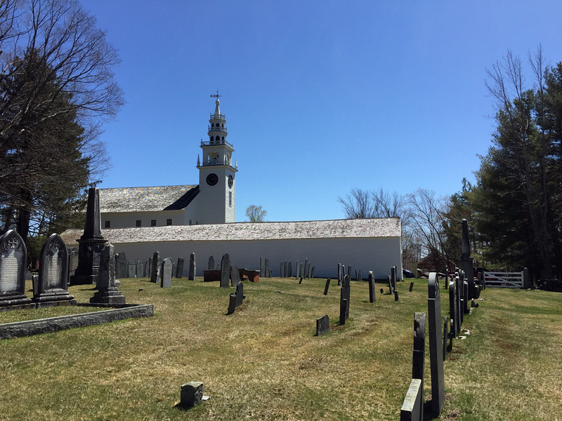 Meetinghouse from the Old Burying Ground, April 29, 2016.