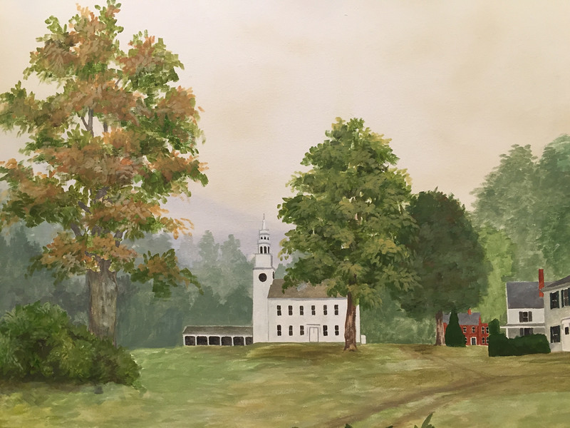 Painting of the Meetinghouse in the lobby of Rivermead in Peterborough, NH. January 2016.