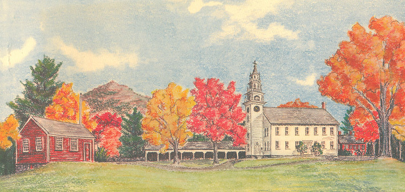 """""""The Common at Jaffrey Center..."""" Painting by Joanne Noyes. From the collection of the Jaffrey Historical Society."""