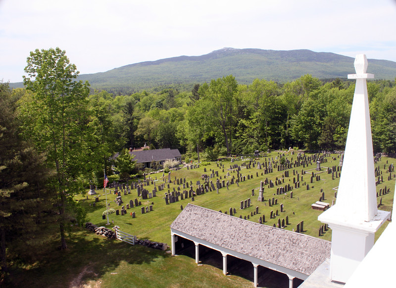 From the bell level looking towards Mt. Monadnock with the Old Burying Ground and Horsesheds below. 2 June 2016.