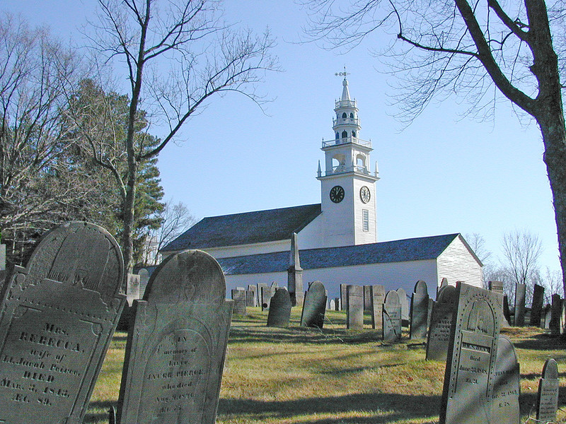 Meetinghouse from the Old Burying Ground.