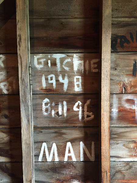 Grafitti on south wall of Tower at attic level, July 9, 2015.