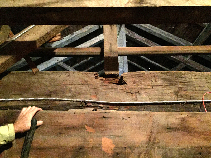 Punky beam on attic level in Tower looking east.