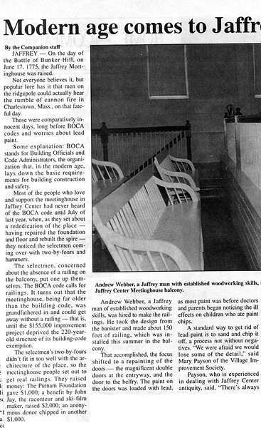 New gallery balustrade. Monadnock Home Companion. September 2, 1994.