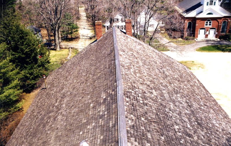 The roof from the Bell Stage, before the removal of the chimneys. April 1995.