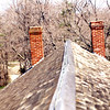 Chimneys, since removed, April 1995.