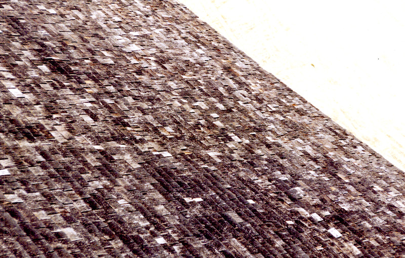 Condition of the southern half of the roof, from the Bell Stage. April 1995.
