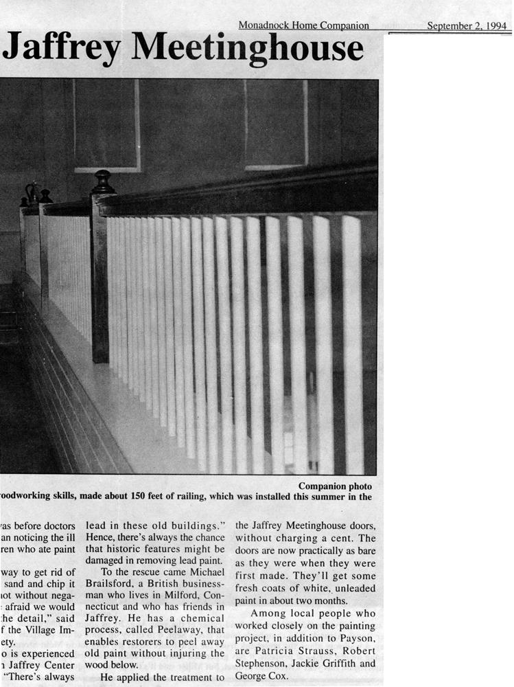 New gallery balustrade. Monadnock Home Companion. September 2, 1994.