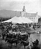 The Tent set up in front of the Meetinghouse. Probably taken from the hotel. Centennial celebration August 20, 1873. B. F. Foster, Photographer, Milford, NH. JHS 1966.34.4