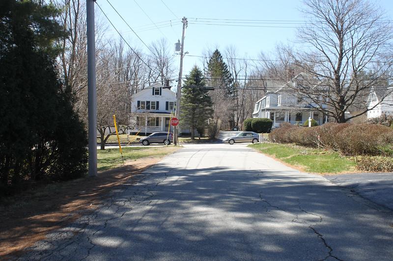 Bradley Court looking toward Main Street, April 15, 2016.