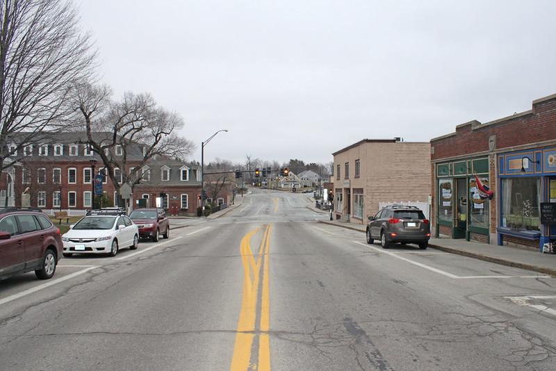 Main Street looking east. Jaffrey Mills on left. March 27, 2016.
