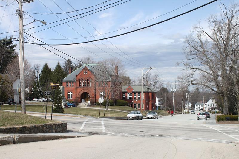 School Street at Main Street, Jaffrey Library ahead. March 31, 2016.