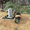 Aaron Abitz planting around Willa Cather's gravesite. June 11, 2016.