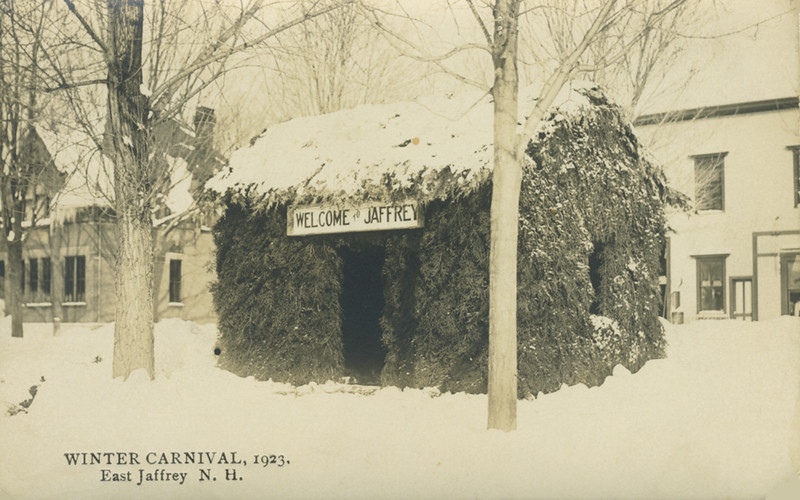 Jaffrey Winter Carnival, 1923. Bank and Granite State Hotel in background. Jaffrey Historical Society.