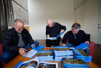 """20180629: Richmond:""""They're racing at Manangatang"""" book signing with Jaime Murcia, Andrew Chapman and Noel Butcher. Picture by Phil Campbell"""