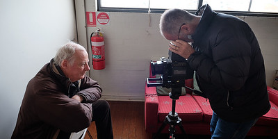 20180629: Richmond:Andrew Chapman, Phil Campbell and Jaime Murcia with Fuji 680 film camera.