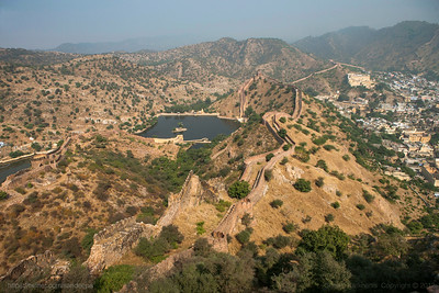 Aerial view of the old walled city of Amer and its water bodies seen from the Jaigadh fort in Jaipur, Rajasthan.