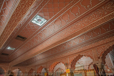The beautifully carved roof of the Govind Devji Temple in Jaipur, Rajasthan that holds a Guinness Book of World Record for the for having the widest single span RCC flat roof.