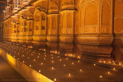 Hawa Mahal, which translates to airy palace is decorated with with lamps and candles on the occasion of Diwali, to celebrate this festival of lights in Jaipur, Rajasthan, India.