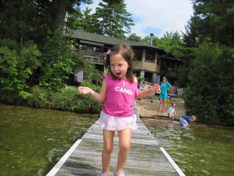 Kylie dancing her way down the dock.