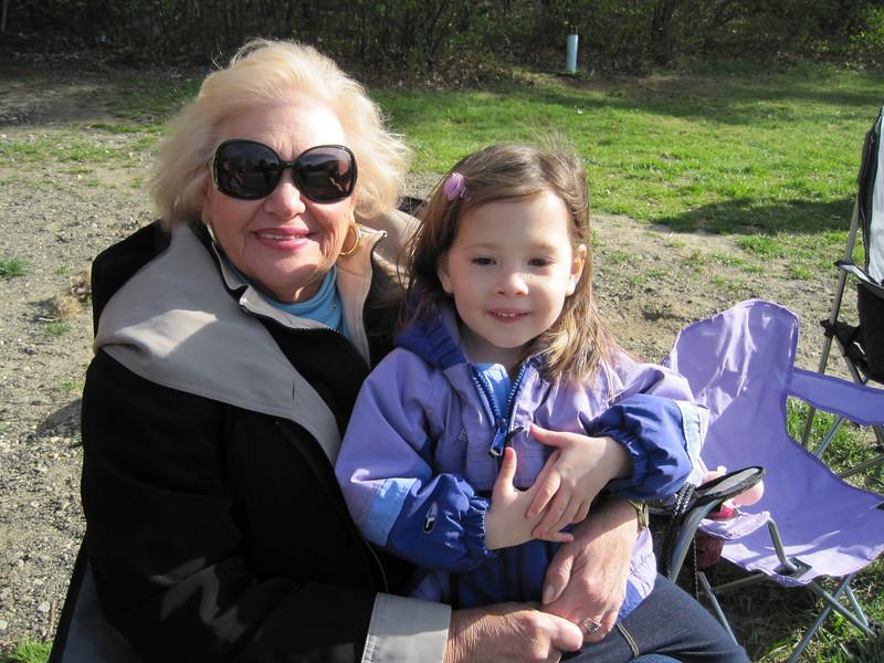 Grandma and Kylie watching Jake play ball<br /> April 28, 2012