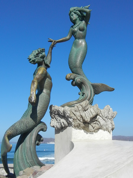 Triton And Neptune Sculptures, On The Malecon In Barra de Navidad, Jalisco
