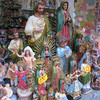 There Are Many Shops With Religious Figures For The Visiting Pilgrims