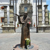 A Bronze Of Pope John Paul II, With A Dove, In Front Of Parroquia de San Pedro