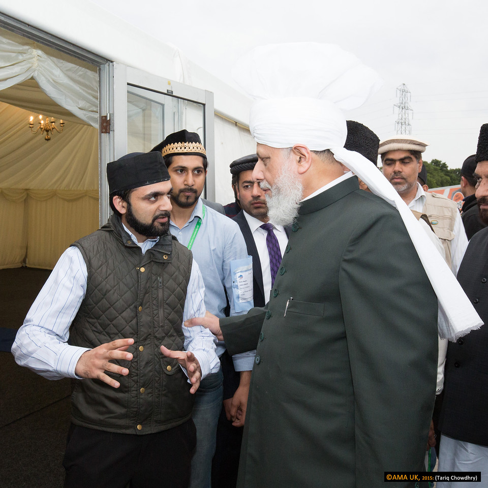 Huzur on inspection tour at the Review of Religions marquee where special events will be held during the Jalsa