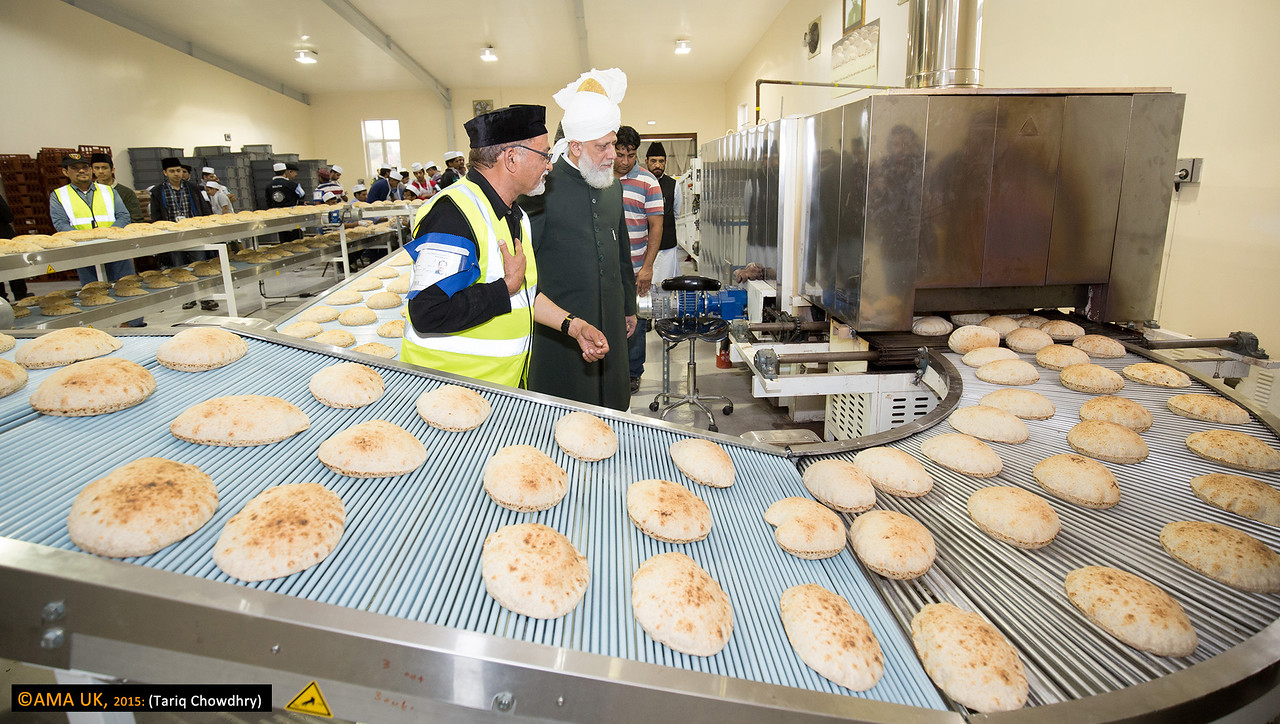 Huzur on inspection tour of the roti plant