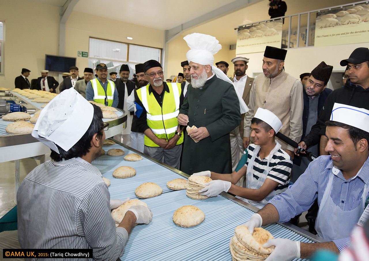Huzur on inspection tour at the roti plant.