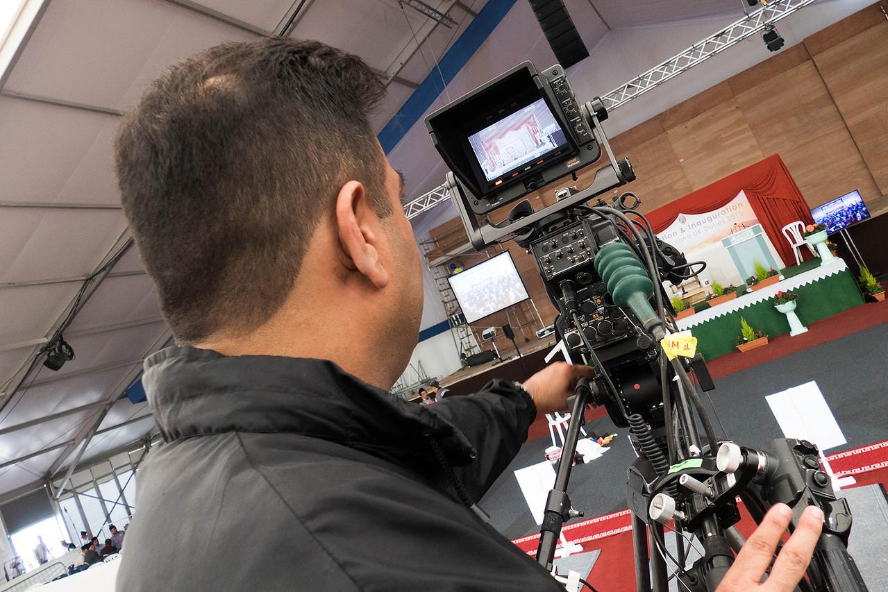 MTA International camera set-up before start of inauguration