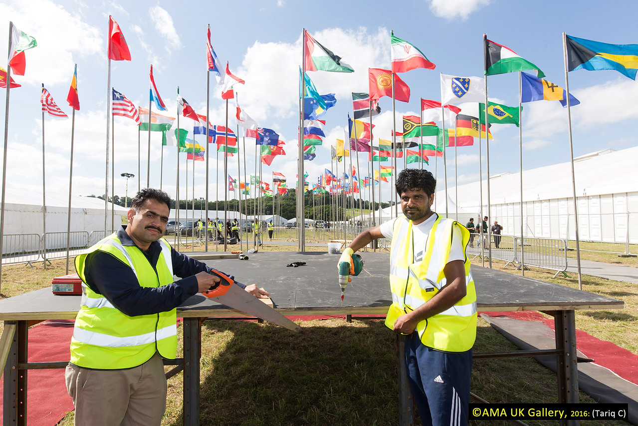 Setting the stage for the flag hoisting ceremony