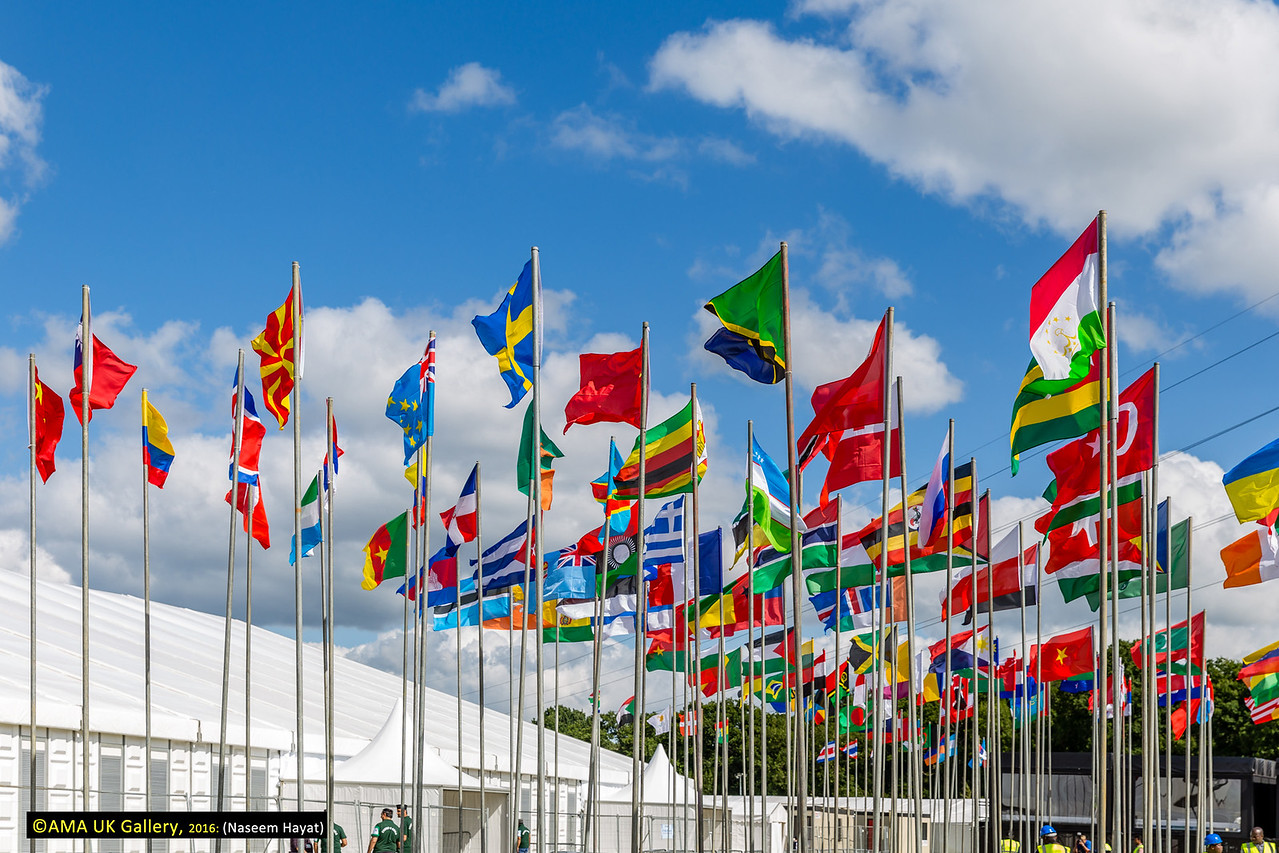 The flags of the world representing the countries from where the delegates will come from  to attend the Jalsa.