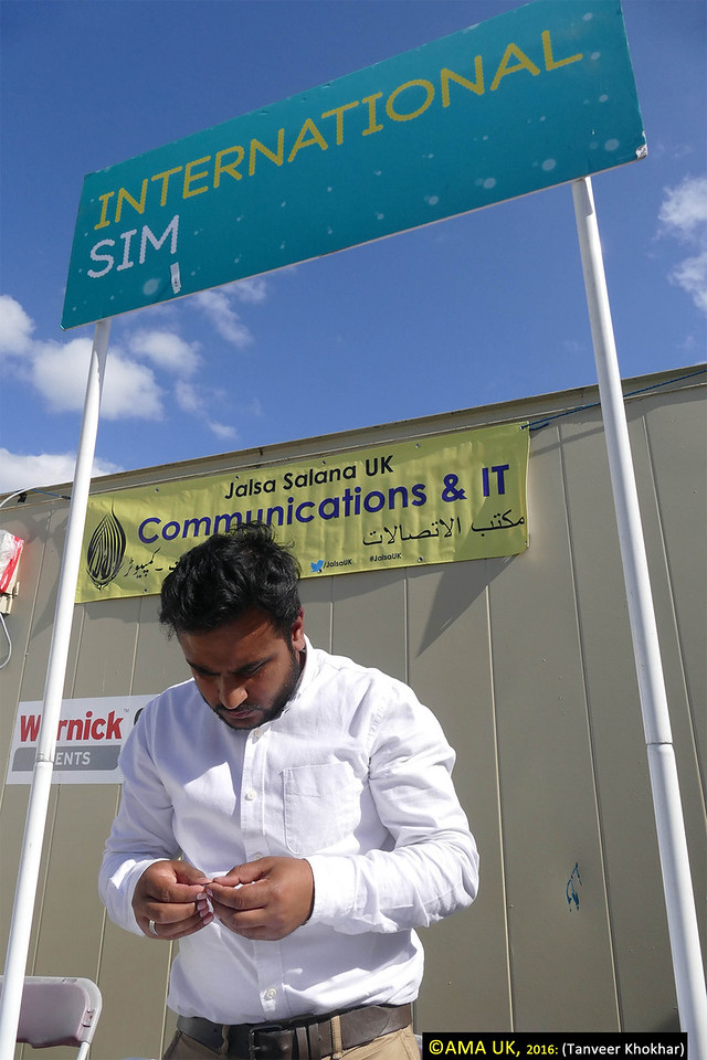 There is a special EE mast set-up for Jalsa and you can buy EE sim cards. with £10 top-up you get 100 mins call time and a whopping 10GB of data allowance. The department is based near the Doctors' area
