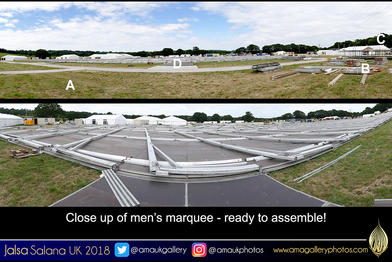 Was at the Jalsa site on Sunday 22 July - Recognise this spot? Between A and B is where the international flags are placed C is the MTA outside studios D is the men's marquee with close up below Never seen the marquee laid out flat before assembly! ITS HUGE!