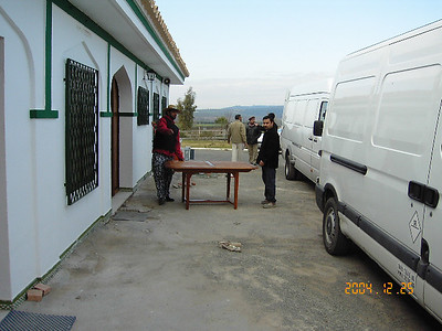 Furniture is being hauled in front of the Mosque