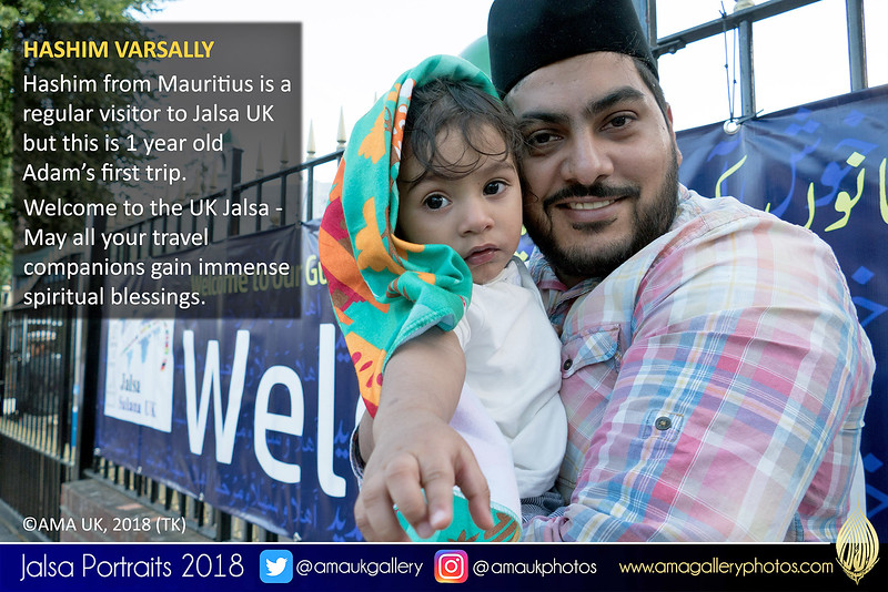 """Give me the camera!"" 1 yr old Adam on his first visit to #JalsaUK - no doubt the first of many. Pictured here with his father, Hashim who has visited many times before. Like many others from abroad, you visit once and then you just want to keep coming back every year!"